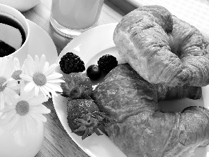 croissants, coffee, Fruits