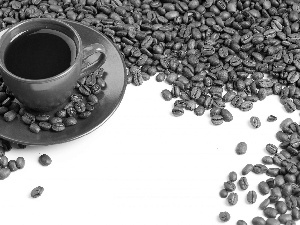 Cup, coffee, grains