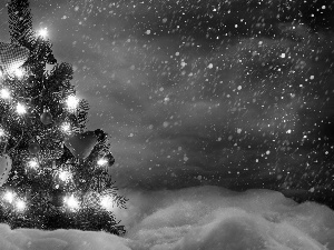 Lights, snow, christmas tree