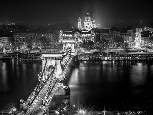 Budapest, town, Danube, Night, River, bridge, Hungary, panorama