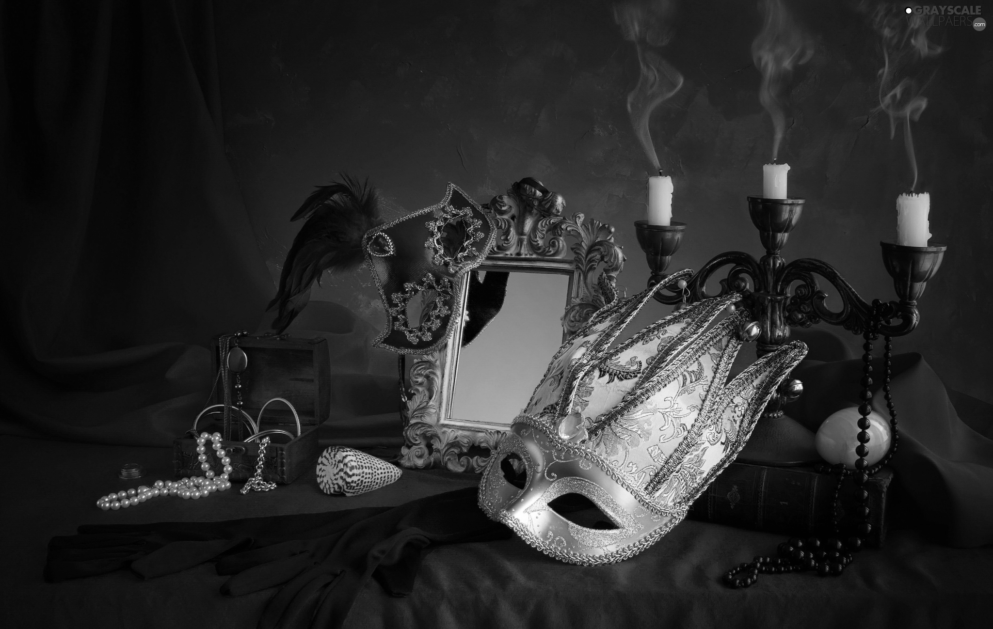 mirror, Candles, composition, jewellery, mask