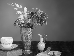 Flowers, composition, Astra, Vase, jug, napkin, cup, Book, Watch