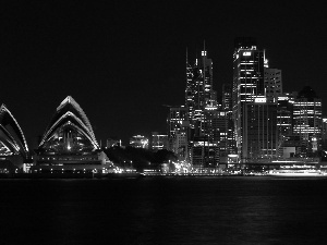 Sydney Opera House, Night, Sydney, skyscrapers, Australia