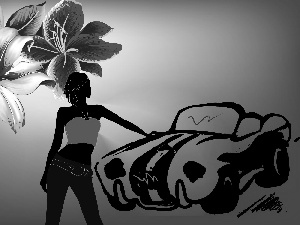 Automobile, graphics, lilies, girl, Flowers