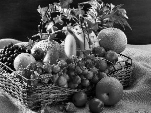 bananas, Grapes, fruits, apples, basket
