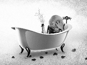 Bath, Champagne, small, hunger, mascot