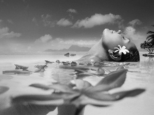 bath, Tahiti, Flowers, sea, Women