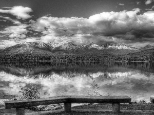 lake, Mountains, bench, forest