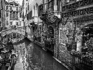 buildings, Gondolas, canal, bridges, Venice