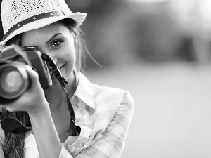 Camera, Park, girl, Hat, smiling