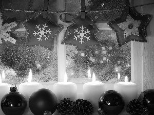 Candles, baubles, christmas, White, Red, Window, decoration