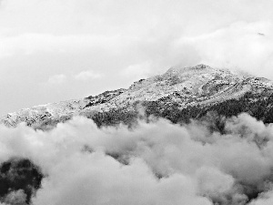 clouds, Mountains, snow