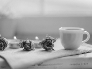 coffee, composition, candles, cup, roses