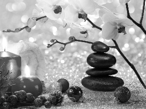 Candles, Stones, Christmas, Towel, orchids, baubles, composition