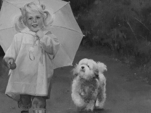 girl, dog, Donald Zolan, Umbrella