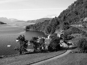 forested, The Hills, Houses, Way, Hardangerfjord