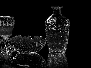 glasses, crystal, black background, Wine, reflection, carafe, Crystal, Red Currant
