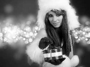 Gloves, Hat, brunette, Red, Present