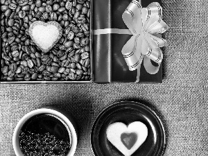 coffee, Box, Heart teddybear, grains