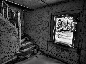 Stairs, Neglected, Old, house, interior