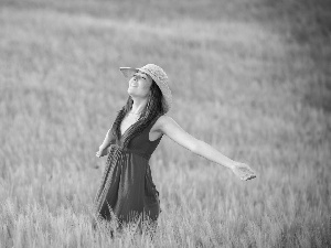 Women, Meadow, joy, Hat