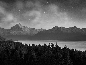Mountains, Night, lake, forest
