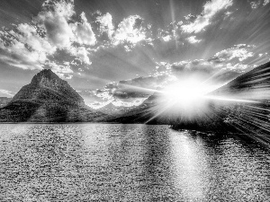 rays of the Sun, Mountains, lake