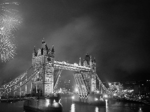 fireworks, Tower Bridge, London