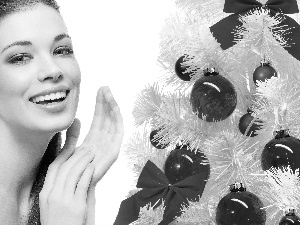 White, christmas tree, model, make-up, smiling