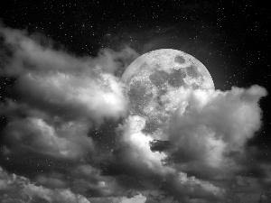 moon, Night, clouds