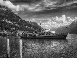 Mountains, Switzerland, cruise, lake, Ship