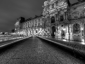 Fragment of the Louvre, Paris, night
