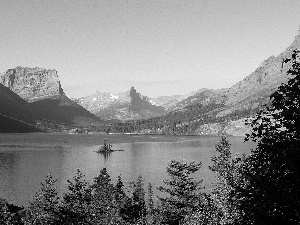 Mountains, Montana State, trees, Glacier National Park, The United States, Saint Mary Lake, viewes