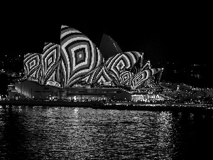 Opera, Sydney Opera House, Australia, Night, Sydney, lighting, color, Port Jackson Bay