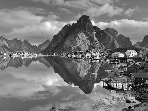 Lofoten, sea, Reine, Mountains