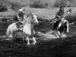 painting, Indians, River, bloodstock