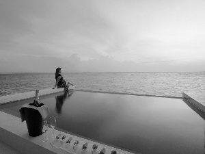 Hotel hall, Pool, west, Champagne, Women, sea, sun
