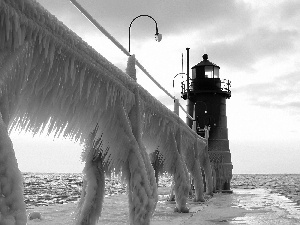 sea, winter, Lighthouses