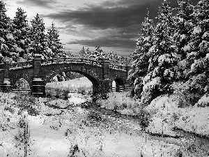 snow, bridge, trees, viewes, winter