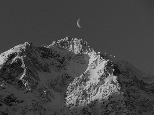 snow, moon, sun, Mountains, west