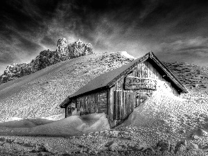 winter, cottage, snow, Mountains