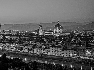 town, Italy, Florence, panorama, chair