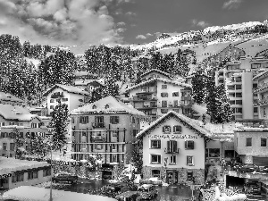 winter, Houses, Town, Mountains