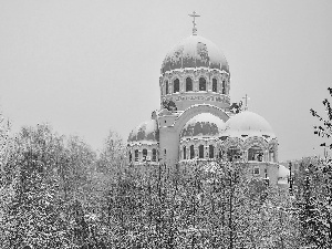 winter, Cerkiew, trees, viewes, snow, Domes