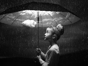 girl, Rain, Umbrella, clouds