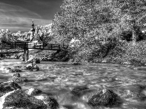 bridges, tear, viewes, Church, trees, River