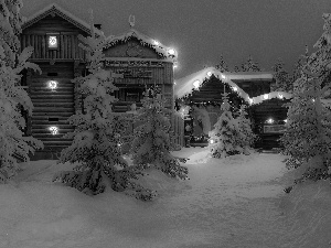viewes, winter, Houses, trees, illuminated