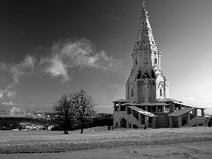 Church, Russia, viewes, winter, trees, Moscow