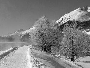 River, Way, winter, Mountains