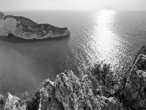 rocks, sea, Zakynthos, Greece, Beaches, Gulf